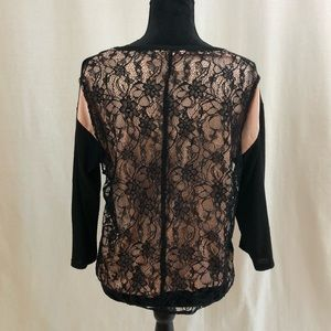 Design History Black & Champagne Lace Sweater